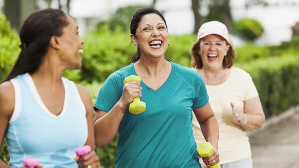 Group of active women doing some cardio